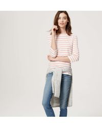 LOFT - Blue Petite Striped Boatneck Tee - Lyst