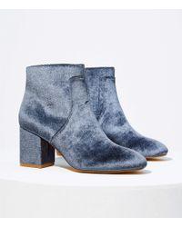 LOFT Blue Velvet Block Heel Ankle Boots