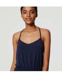 LOFT - Blue Petite Strappy Blouson Dress - Lyst