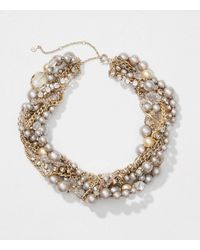 LOFT - Metallic Pearlized Twist Statement Necklace - Lyst
