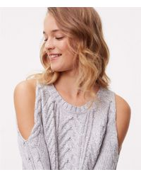 LOFT - Gray Tall Cable Cold Shoulder Sweater Dress - Lyst