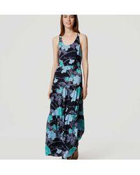 LOFT - Blue Petite Floral Tiered Maxi Dress - Lyst