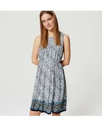 LOFT - Blue Tall Border Floral Smocked Yoke Dress - Lyst