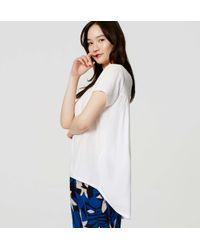 LOFT - White Petite Shirred Back Tee - Lyst