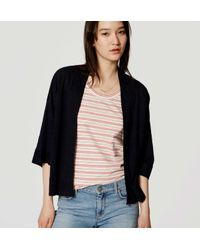 LOFT - Blue Linen Kimono Cardigan - Lyst
