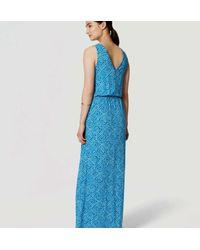 LOFT - Blue Abstract Blouson Maxi Dress - Lyst