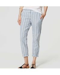 LOFT - Blue Petite Stripe Cropped Skinny Chinos - Lyst