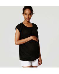 LOFT - Black Maternity Shirred Linen Tee - Lyst