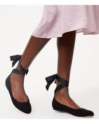 LOFT - Black Lace Up Ballet Flats - Lyst