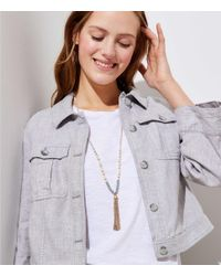 LOFT - Metallic Pearlized Chain Tassel Necklace - Lyst