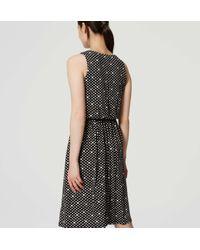 LOFT - Black Dotted Blouson Dress - Lyst