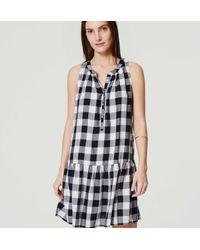 LOFT - Blue Petite Gingham Drop Waist Dress - Lyst