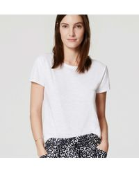 LOFT - White Vintage Soft Eased Up Crew Tee - Lyst