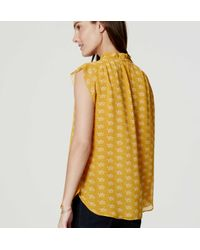 LOFT - Yellow Petite Bouquet Flutter Top - Lyst