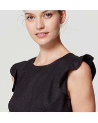 LOFT Black Petite Flutter Flare Dress