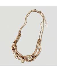 LOFT   Metallic Multistrand Beaded Necklace   Lyst