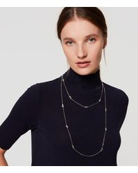 LOFT | White Baguette Crystal Station Necklace | Lyst