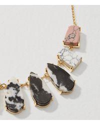LOFT - Metallic Stone Drop Necklace - Lyst