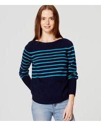 LOFT | Blue Striped Boatneck Sweater | Lyst