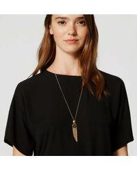 LOFT - Black Tasseled Disc Pendant Necklace - Lyst