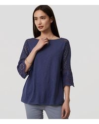 LOFT Blue Lace Bell Sleeve Top