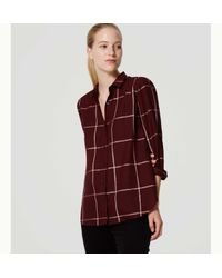 LOFT - Red Shimmer Plaid Softened Shirt - Lyst