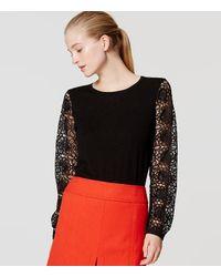 LOFT   Black Lace Sleeve Sweater   Lyst