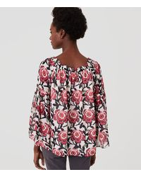 LOFT Red Blossom Off The Shoulder Top
