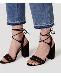 LOFT - Black Strappy Cutout Block Heels - Lyst