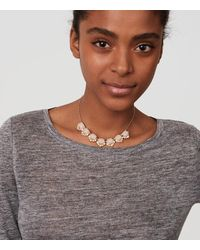 LOFT - Metallic Blush Crystal Necklace - Lyst