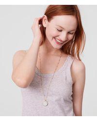LOFT Metallic Reversible Glitter Pendant Necklace