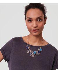 LOFT | Metallic Floral Crystal Drop Necklace | Lyst