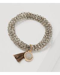 LOFT | Metallic Tasseled Beaded Stretch Bracelet | Lyst