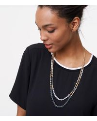 LOFT | Metallic Pearlized Double Strand Necklace | Lyst