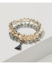 LOFT - Metallic Pearlized Tassel Multistrand Stretch Bracelet - Lyst
