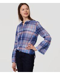 LOFT Blue Plaid Bell Sleeve Softened Shirt