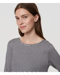 LOFT Blue Paneled Stripe Top