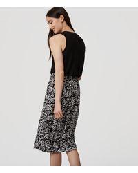 LOFT Black Floral Duet Dress