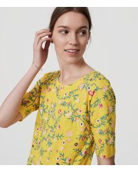 LOFT Yellow Floral Ballet Neck Tee