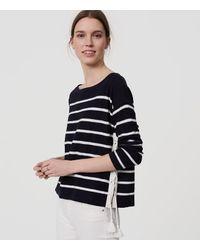 LOFT Blue Striped Lace Up Side Sweater