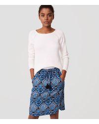LOFT Blue Baroque Drawstring Pencil Skirt