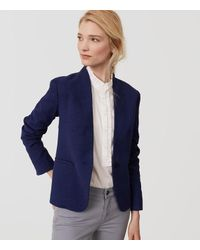 LOFT Blue Petite Textured Collarless Blazer