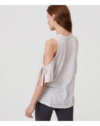 LOFT White Striped Tie Cold Shoulder Tee