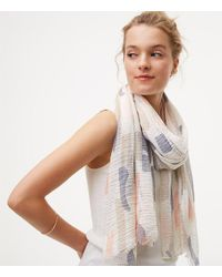 LOFT - White Abstract Scarf - Lyst