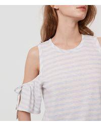 LOFT White Petite Striped Tie Cold Shoulder Tee