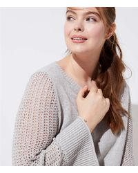 LOFT Gray Plus Stitched Sleeve Sweater