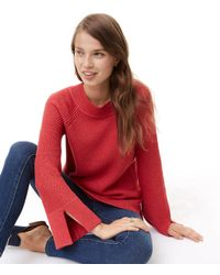 LOFT Textured Slit Cuff Sweater