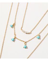 LOFT - Metallic Triple Strand Stone Pendant Necklace - Lyst