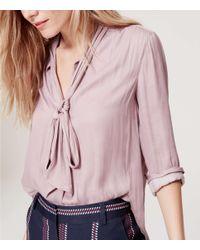 LOFT - Pink Tie Neck Blouse - Lyst