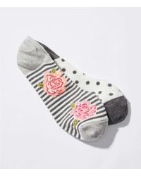 LOFT - Gray Dot & Rose No Show Sock Set - Lyst